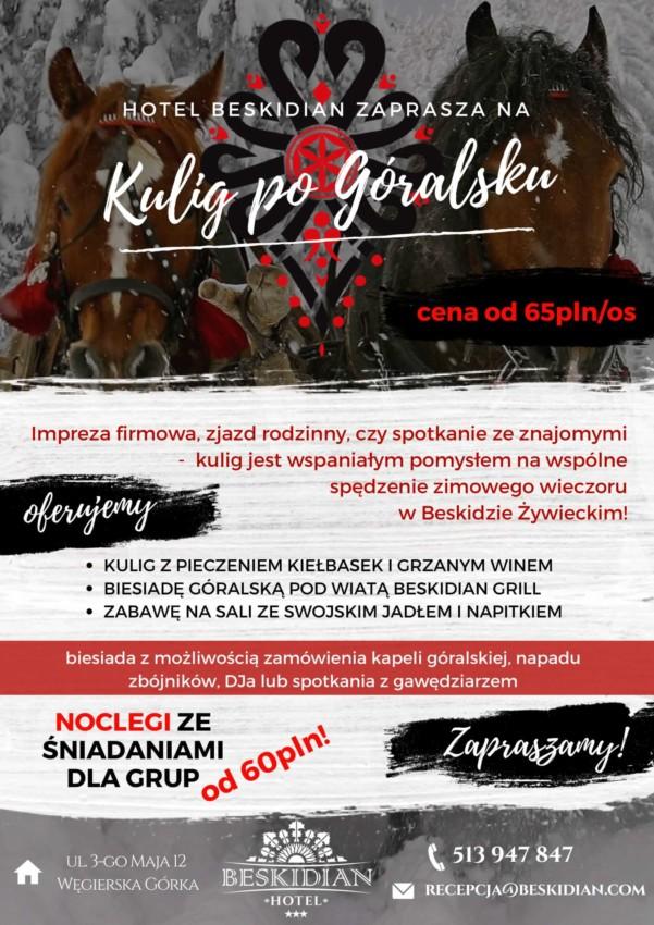 Plakat oferty kulig po góralsku